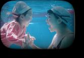 長崎宏子と長女の水中にらめっこ